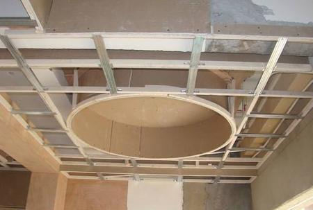 固定主龙骨,副龙骨,然后调平骨架,考虑吊顶自重和视觉误差,中心点可起拱处理,按房间短向处理l‰-3‰起拱,主龙骨间距800-1000mm,副龙骨400-600mm